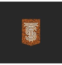 Crest TS letters monogram initials combination T vector image vector image
