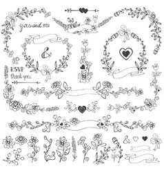 Doodles floral decor setBorderscornerelements vector image vector image