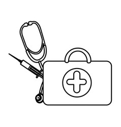 figure suitcase health with stethoscope and vector image