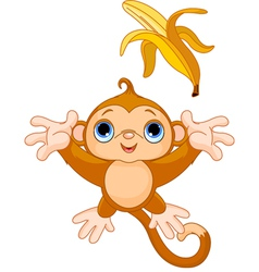 of funny monkey trying to catch banana vector image