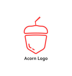 red thin line simple acorn icon vector image vector image