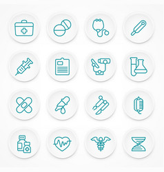 round blue medical icons vector image vector image