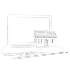 sketch of house laptop and engineer tools vector image