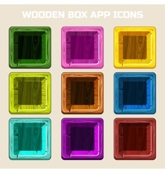 colors square Wooden box app icons vector image vector image