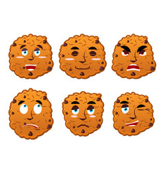 cookies emotions set oatmeal cookie evil and good vector image vector image
