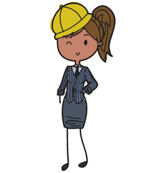Female builder vector image vector image