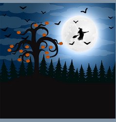 Forest at night on halloween vector
