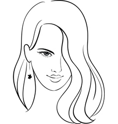 Girl Face with Beautiful Hair Sketch vector image vector image