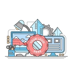 Logo Template image Processing - flat line design vector image