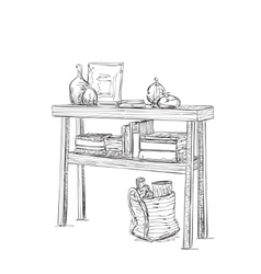 Table dishes and books Furniture sketch vector image vector image