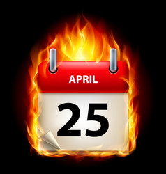 twenty-fifth april in calendar burning icon on vector image