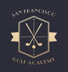 golf academy logo emblem with clubs vector image vector image