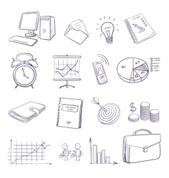 hand draw doodle business icon set vector image vector image