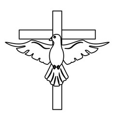 holy spirit with cross sacred outline vector image