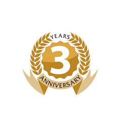 3 years ribbon anniversary vector image vector image