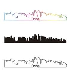 Doha skyline linear style with rainbow vector image