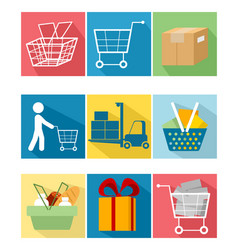 nine shopping items vector image