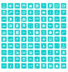100 auto repair icons set grunge blue vector image