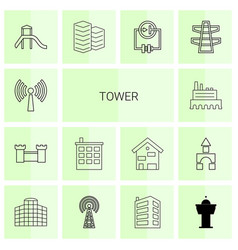 14 tower icons vector