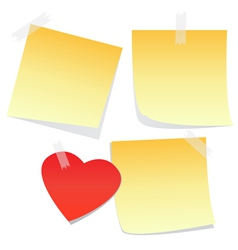 3 yellow notes and a heart vector image