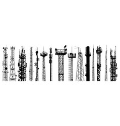 Antenna silhouettes set isolated vector
