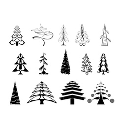 Art Christmas tree set vector