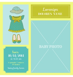 Baby arrival card - with girl dress vector