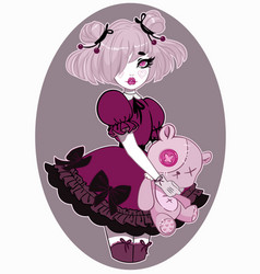 beautiful girl dressed in lolita style vector image