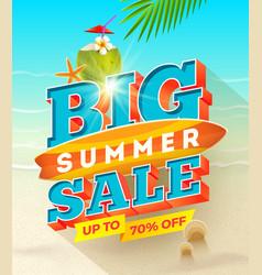 big summer sale design - summer vacation vector image