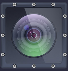camera lens with protection action in safe vector image