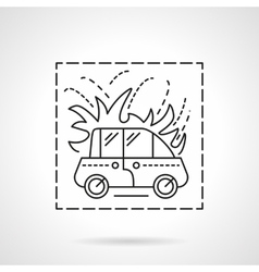 Car fire insurance flat line icon vector