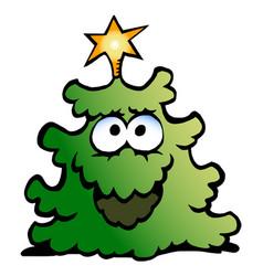 Cartoon an happy christmas green tree vector