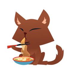 cartoon cat character eating ramen noodle vector image