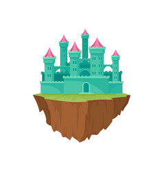 cartoon green island castle on white background vector image