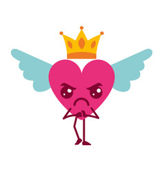 Cartoon heart in love angry kawaii wings and crown vector