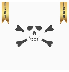Cartoon skull with bones icon vector image