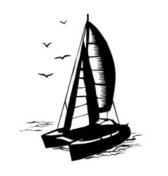 Catamaran sailboat monochrome silhouette vector