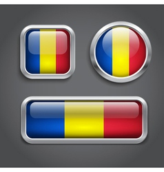 Chad flag glass buttons vector image