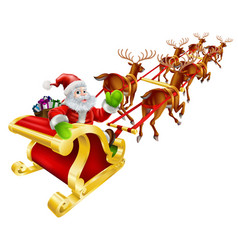 Christmas santa claus flying in sleigh vector
