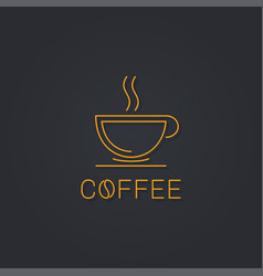 Coffee cup logo linear icon on black vector