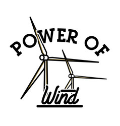 Color vintage wind power emblem vector