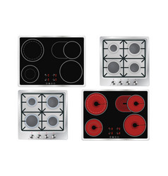 cooktops gas electric ceramic vector image
