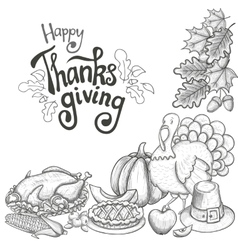 Corner frame with thanksgiving icons vector