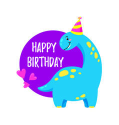 Cute greeting card with a dinosaur party vector