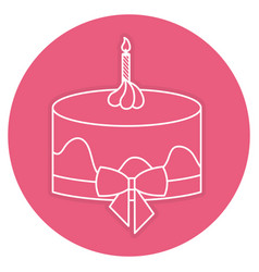 Delicious cake with candles celebration icon vector