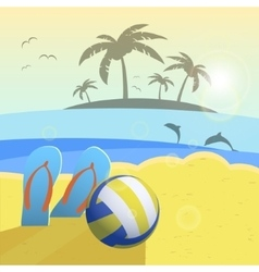 Depicted still life beach volleyball ball palms vector