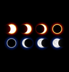 Different phases of solar and lunar eclipses vector