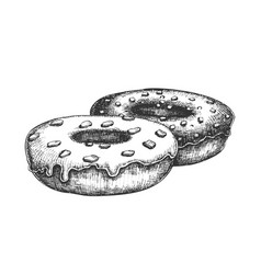 donut sweet breakfast dessert hand drawn vector image