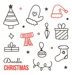 Doodle hand drawn winter christmas set vector image