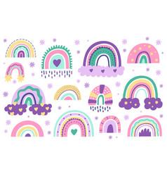 Doodle nursery rainbows hand drawn scandinavian vector